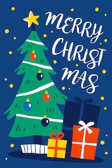 Versierde kerstboom met geschenkdozen. merry christmas illustratie.