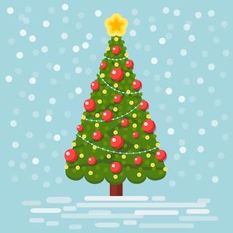 Versierde kerstboom met ster, lichten, decoratieballen. vrolijk kerstfeest en een gelukkig nieuwjaarsconcept
