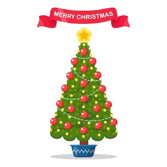 Versierde kerstboom met ster, lichten, decoratieballen.