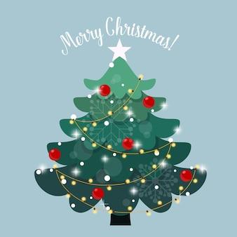 Versierde kerstboom. vakantie achtergrond. vrolijk kerstfeest en een gelukkig nieuwjaar.