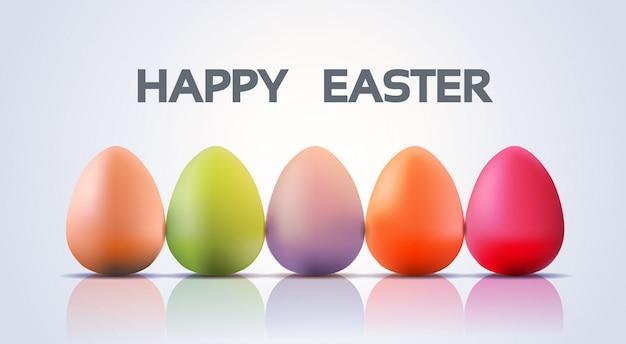 Versierde kleurrijke eieren pasen banner
