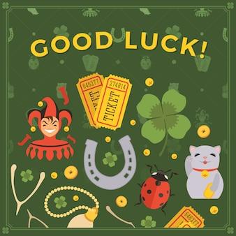 Versieren gemaakt van lucky charms, en de woorden good luck