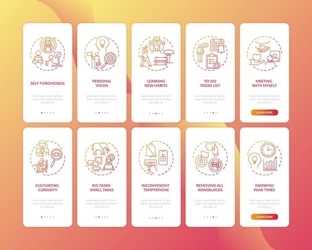 Versla de gewoonte van het uitstellen van taken op het scherm van de mobiele app-pagina met ingestelde concepten