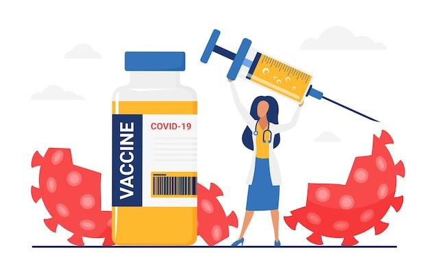 Versla vernietiging van het vaccinatieconcept van coronaviruscellen met gelukkige doktersvrouw
