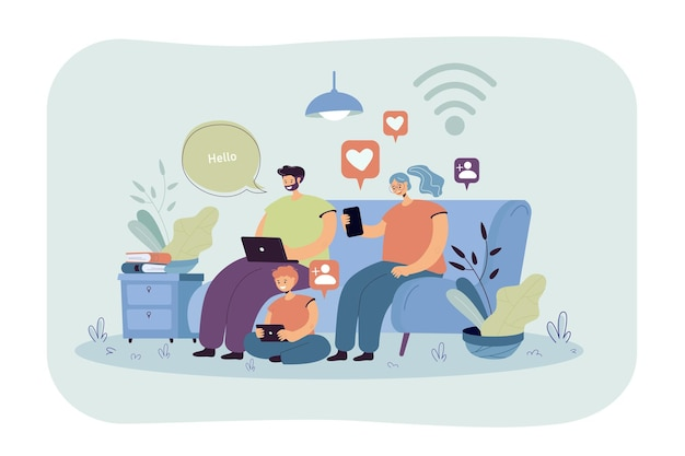 Verslaafd gezin dat digitale gadgets gebruikt om te chatten op sociale media. ouders en kind met behulp van smartphone, laptop, tablet thuis