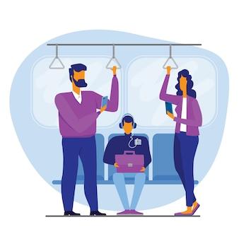 Verslaafde mensen die gadgets gebruiken terwijl ze in de metro staan tijdens een rit in stadsillustratie