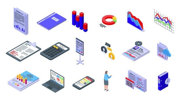 Verslag pictogrammen instellen. isometrische set van rapportpictogrammen voor web geïsoleerd op een witte achtergrond