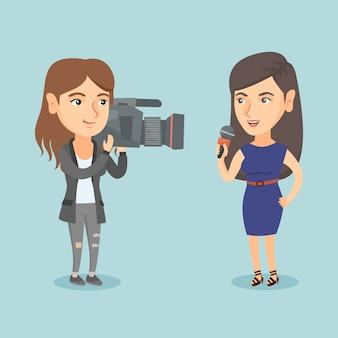 Verslaggever met een microfoon die het nieuws presenteert.