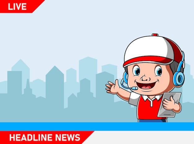 Verslaggever met tabblad voor live nieuwsupdate