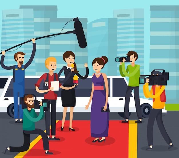 Verslaggevers en beroemdheden orthogonale compositie
