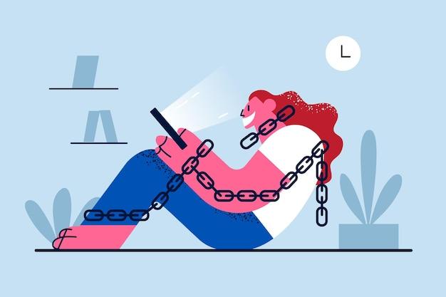 Verslaving aan internet en smartphone-illustratie