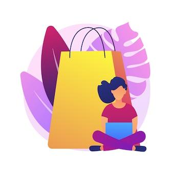 Verslaving aan mobiel winkelen. grote verkoop, online groothandel, lage prijs uitverkocht idee ontwerpelement. digitale winkelklant, shopaholic met smartphone.