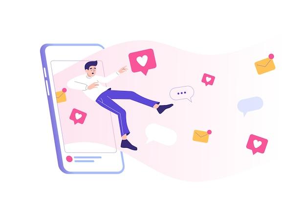 Verslaving aan sociale media met een man die naar een enorm smartphonescherm trekt