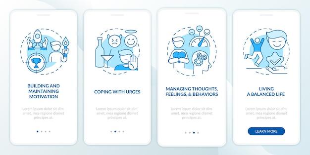 Verslaving herstel stappen methoden onboarding mobiele app pagina scherm met concepten