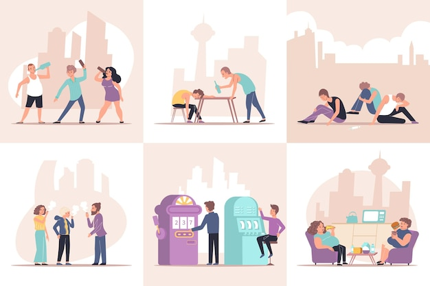 Verslaving set van platte composities met menselijke karakters van verslaafde personen met objecten en stadsgezicht illustratie
