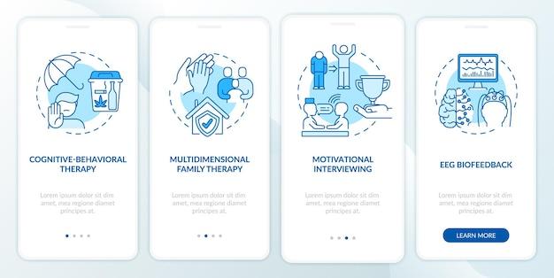 Verslavingsbehandelingsmethoden onboarding van het paginascherm van de mobiele app met concepten
