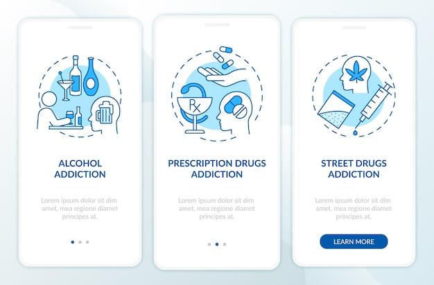 Verslavingstypen onboarding paginascherm voor mobiele apps met concepten