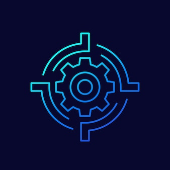 Versnelling en doel lijn vector icon