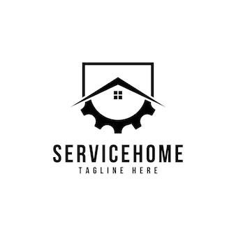 Versnelling huis logo sjabloon ontwerp vector