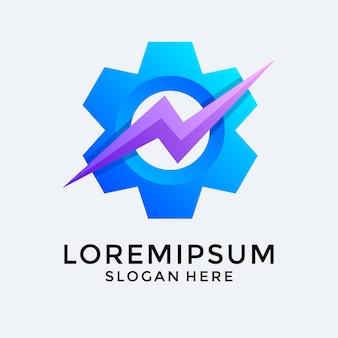 Versnelling instellen met premium logo van donder