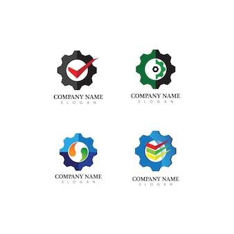 Versnelling logo template vector pictogram illustratie ontwerp