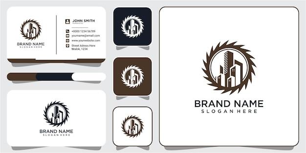 Versnelling met het bouwen van logo pictogram ontwerpsjabloon. ontwerpsjabloon voor bouwuitrusting logo