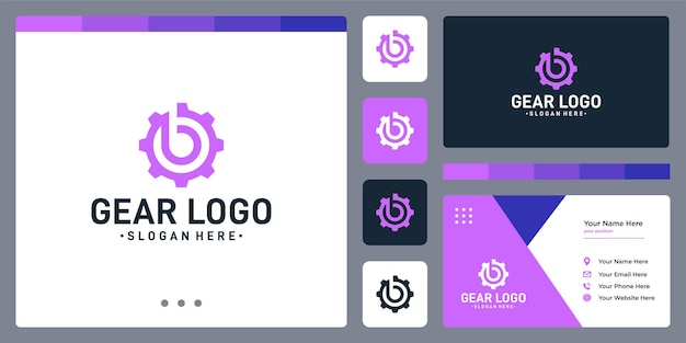 Versnellingslogo en initialen letter b-logo. ontwerpsjabloon voor visitekaartjes.