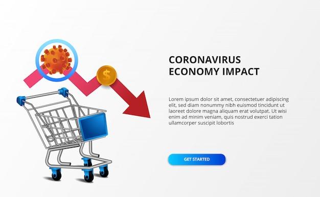 Verspreid de economie-impact van het coronavirus. downtrend zakelijke markt. illustratie van 3d-trolley met bearish pijl en ncov 2019