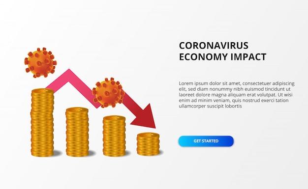 Verspreid de impact van de coronaviruseconomie. economie naar beneden en naar beneden. druk op de aandelenmarkt en de wereldeconomie. geldgrafiek met rode bearish pijl