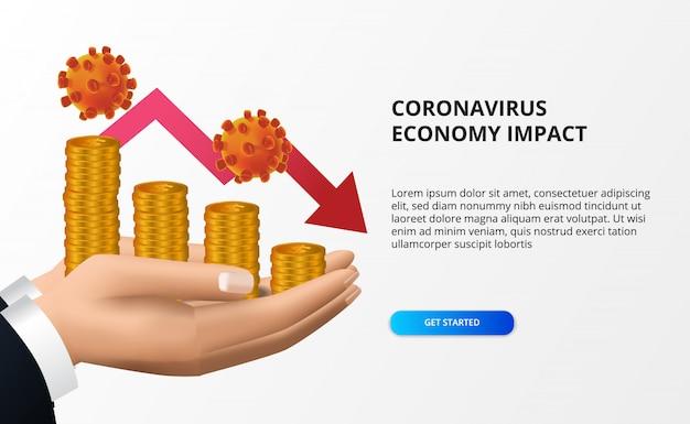 Verspreid de impact van de coronaviruseconomie. economie naar beneden en naar beneden. druk op de aandelenmarkt en de wereldeconomie. hand met geld en rode bearish pijl concept