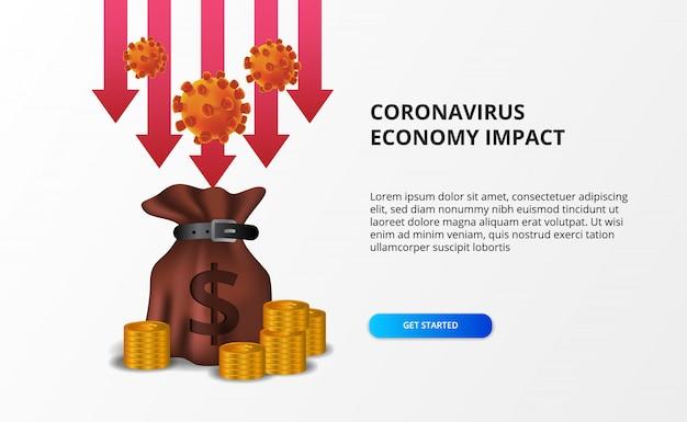 Verspreid de impact van de coronaviruseconomie. economie naar beneden en naar beneden. druk op de aandelenmarkt en de wereldeconomie. rode pijl bearish met geldzak concept