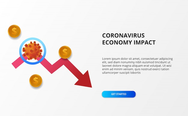 Verspreid de impact van de coronaviruseconomie. economie naar beneden en naar beneden. druk op de aandelenmarkt en de wereldeconomie. rood bearish pijlconcept
