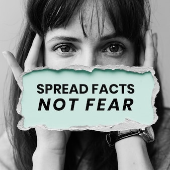 Verspreid feiten, wees niet bang voor berichtsjabloon voor coronavirusbewustzijn