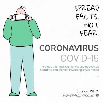 Verspreid feiten, wees niet bang voor coronavirus pandemie sociale sjabloon bron who vector