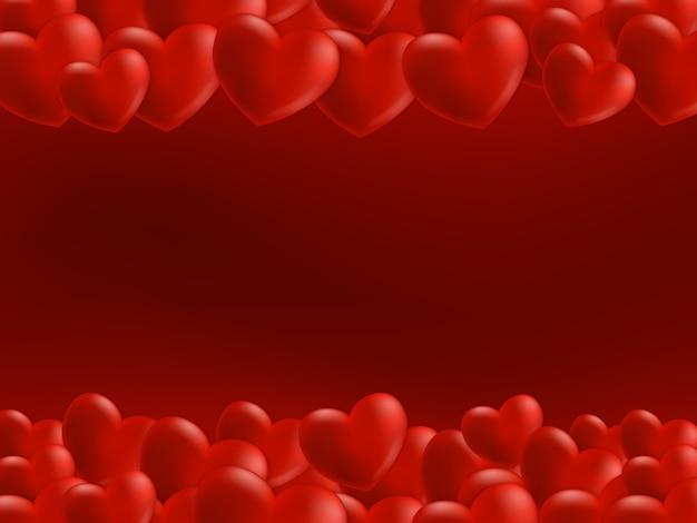 Verspreide harten op boven- en onderkant. achtergrond voor valentijnsdag wenskaart.