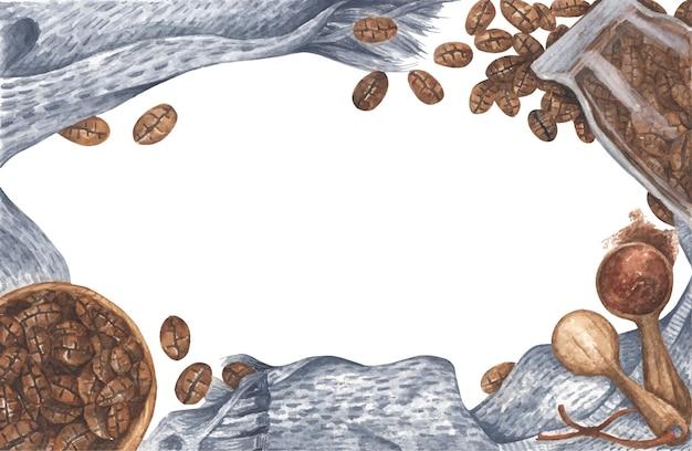 Verspreide koffiebonen uit glazen fles en kom, gemalen poeder op houten lepel met gebreide sjaal, bovenaanzicht met kopie ruimte. plat leggen. aquarel illustratie.
