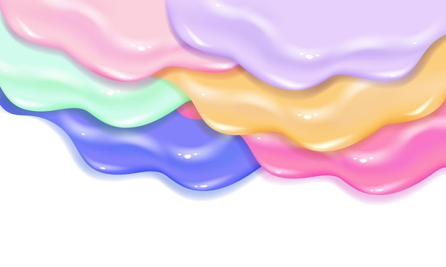 Verspreiden van verfvernis karamel of jam slijmtextuur. stijlvol acryl of aquarel vloeistof gelaagd kleurrijk schilderij concept