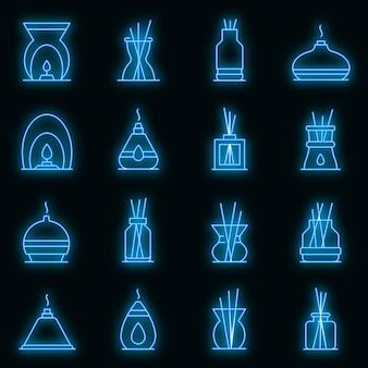 Verspreider pictogrammen instellen. overzicht set van diffuser vector iconen neon kleur op zwart