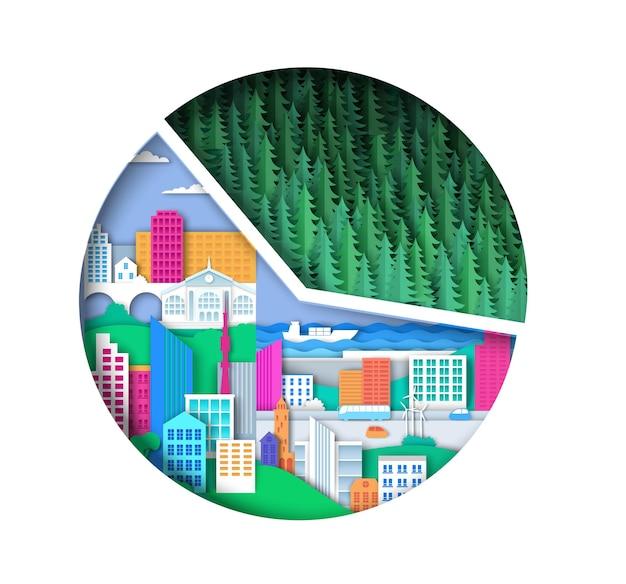 Verstedelijking cirkeldiagrammen infographic vectorillustratie in papier kunststijl