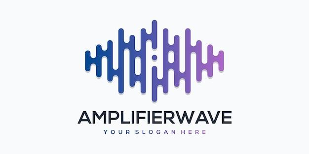 Versterker wave player-element met pulse-logosjabloon