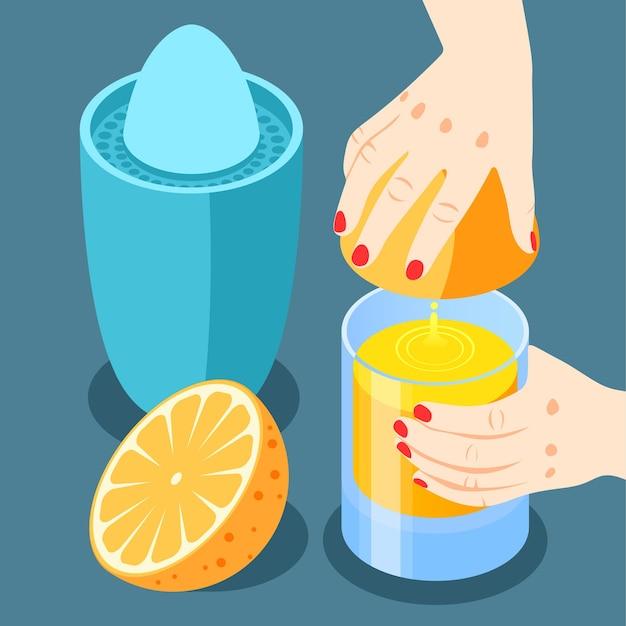Versterking van de immuniteit isometrische en gekleurde achtergrond met sinaasappelsap uitknijpen voor het drinken van illustratie