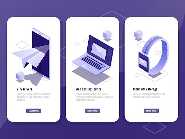 Verstuurd e-mail, online isometrisch pictogram adverteren, slimme apparaten met envelop op scherm