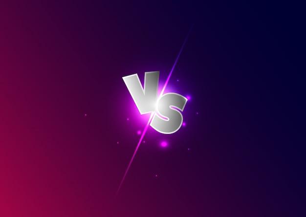 Versus brieven. lichtend wedstrijdsymbool. vs letters