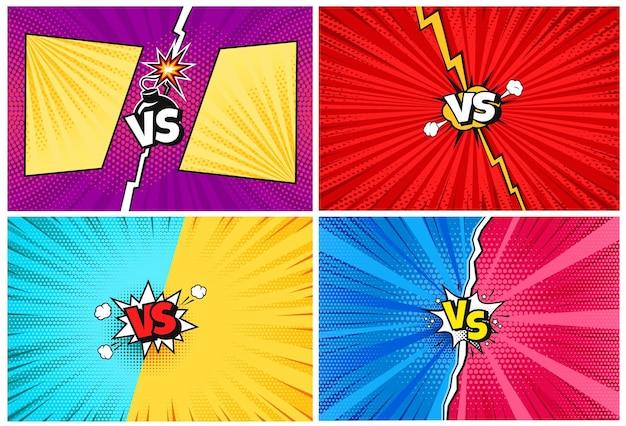 Versus cartoon comic vs challenge achtergronden met bliksem halftoon textuur popart achtergronden
