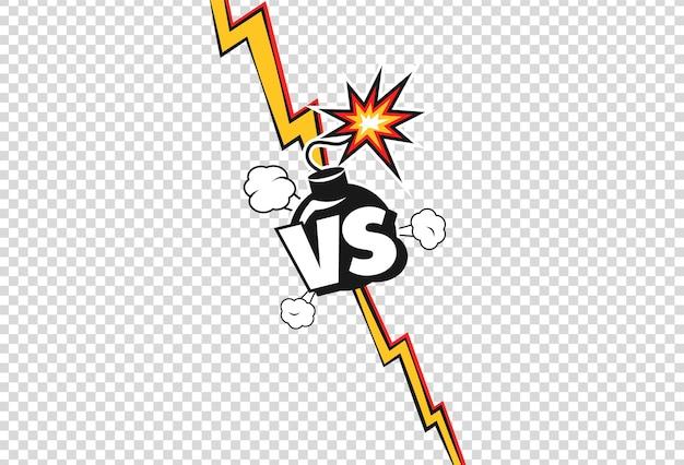 Versus cartoon vs duel strijd of strijd poster vector achtergrond
