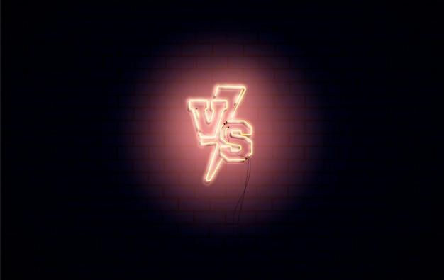 Versus gevecht, scherm met neon vs