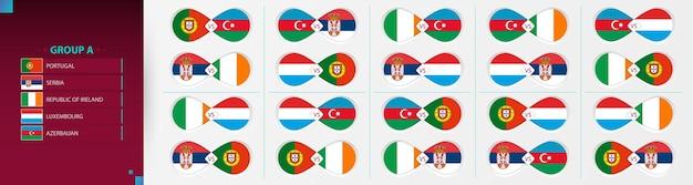 Versus icon set van voetbalcompetitie, groep a-collectie.