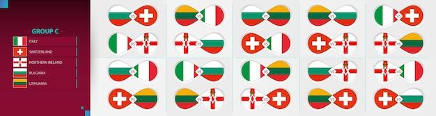 Versus icon set van voetbalcompetitie, groep c collectie.