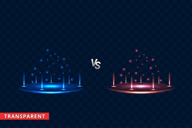 Versus ronde blauwe en rode nachtscène van lichtstralen