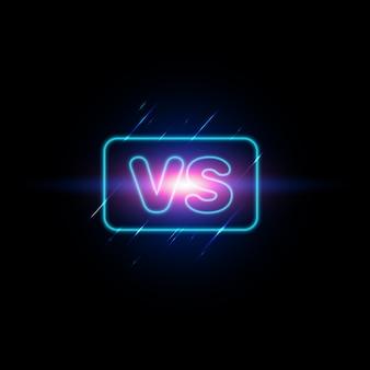Versus scherm. modern versus achtergrond met luxe stijl. daag de compositie uit met neoneffect.